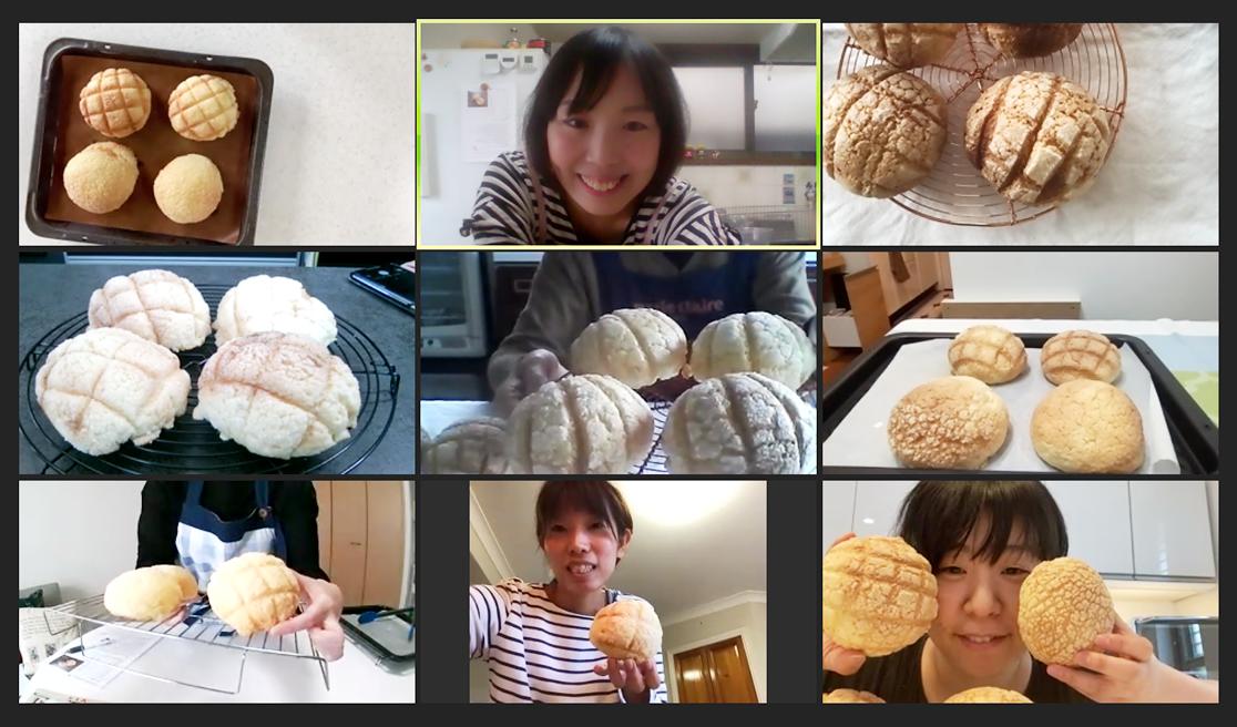 クッキー&ビスケットメロンパンのオンラインレッスンの様子(zoom)