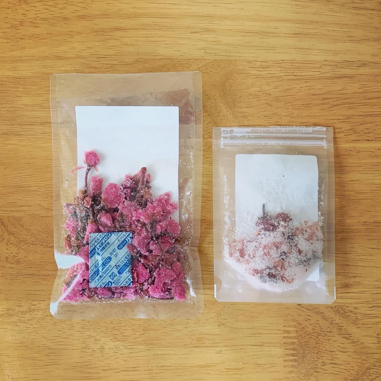 富澤商店と山眞産業の桜花塩漬のパッケージ裏