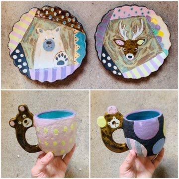 小林美風うつわ展「パレードと毒」大皿とマグカップ